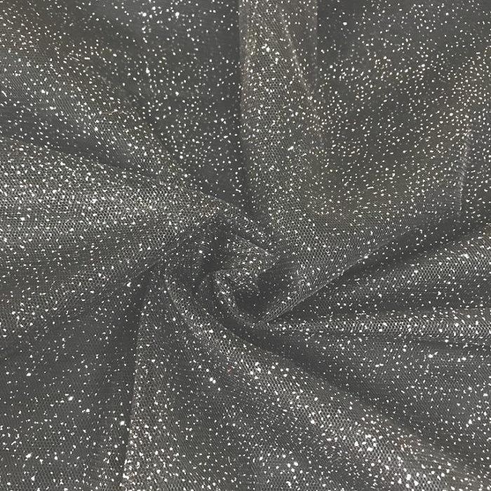 Tecido Tule Ilusione Com Brilho De Glitter Preto