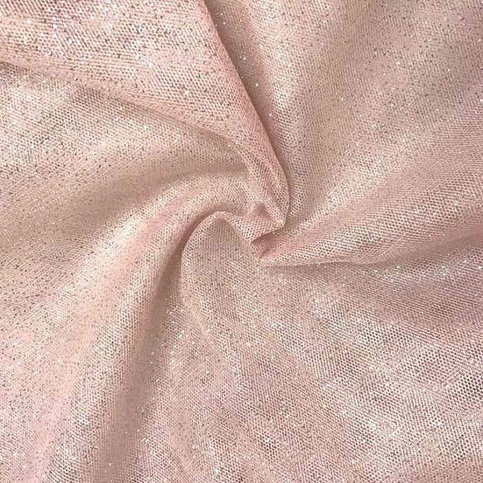 Tecido Tule Ilusione Com Brilho De Glitter Rosê Nude