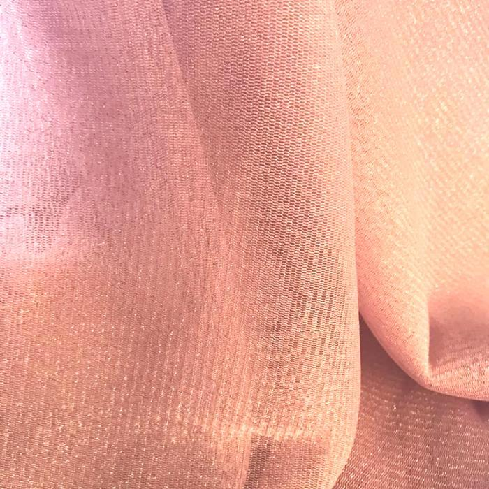 Tecido Tule Lurex de Malha Rosa Claro