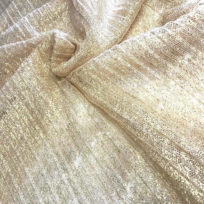 Tecido Tule Lurex Plissado Dourado