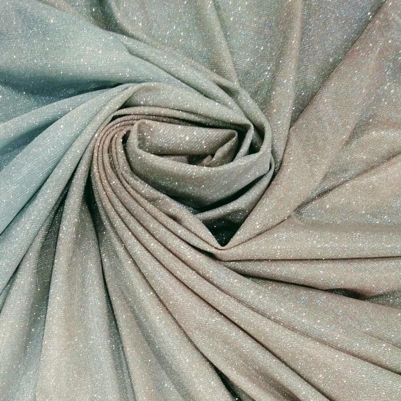 """Tecido Tule Lurex Span Degrade Candy Color Azul & Pele De Pêssego """" Rose """""""
