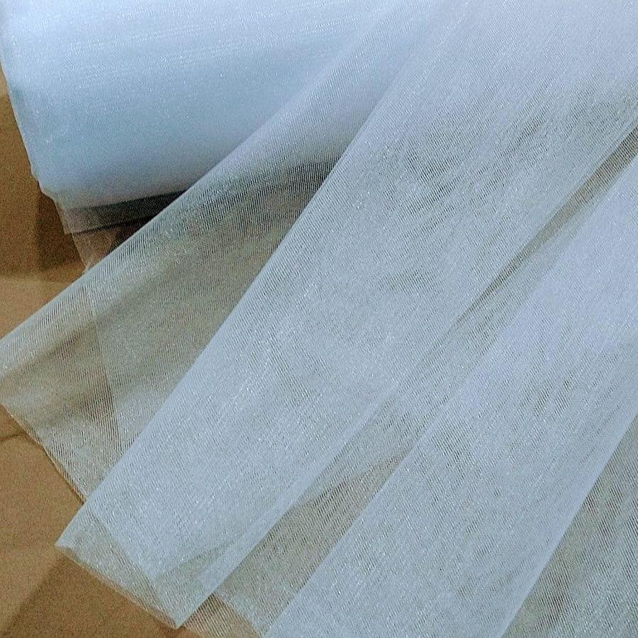 Tecido Tule Paris Com 3,20 Largura Cor Branco Cristal Cintilante