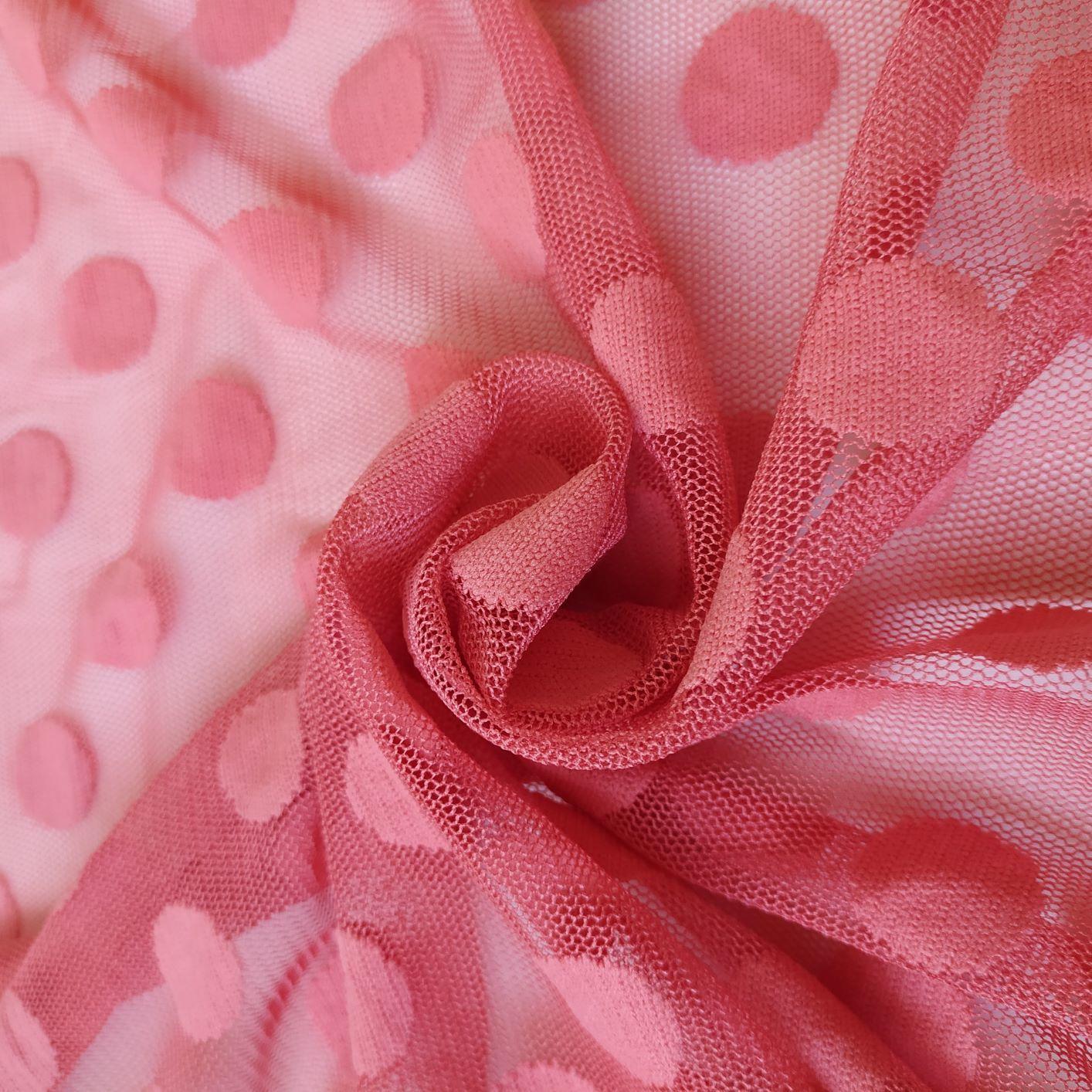 Tecido Tule Poá Point Sprit Rosa Goiaba 2 cm
