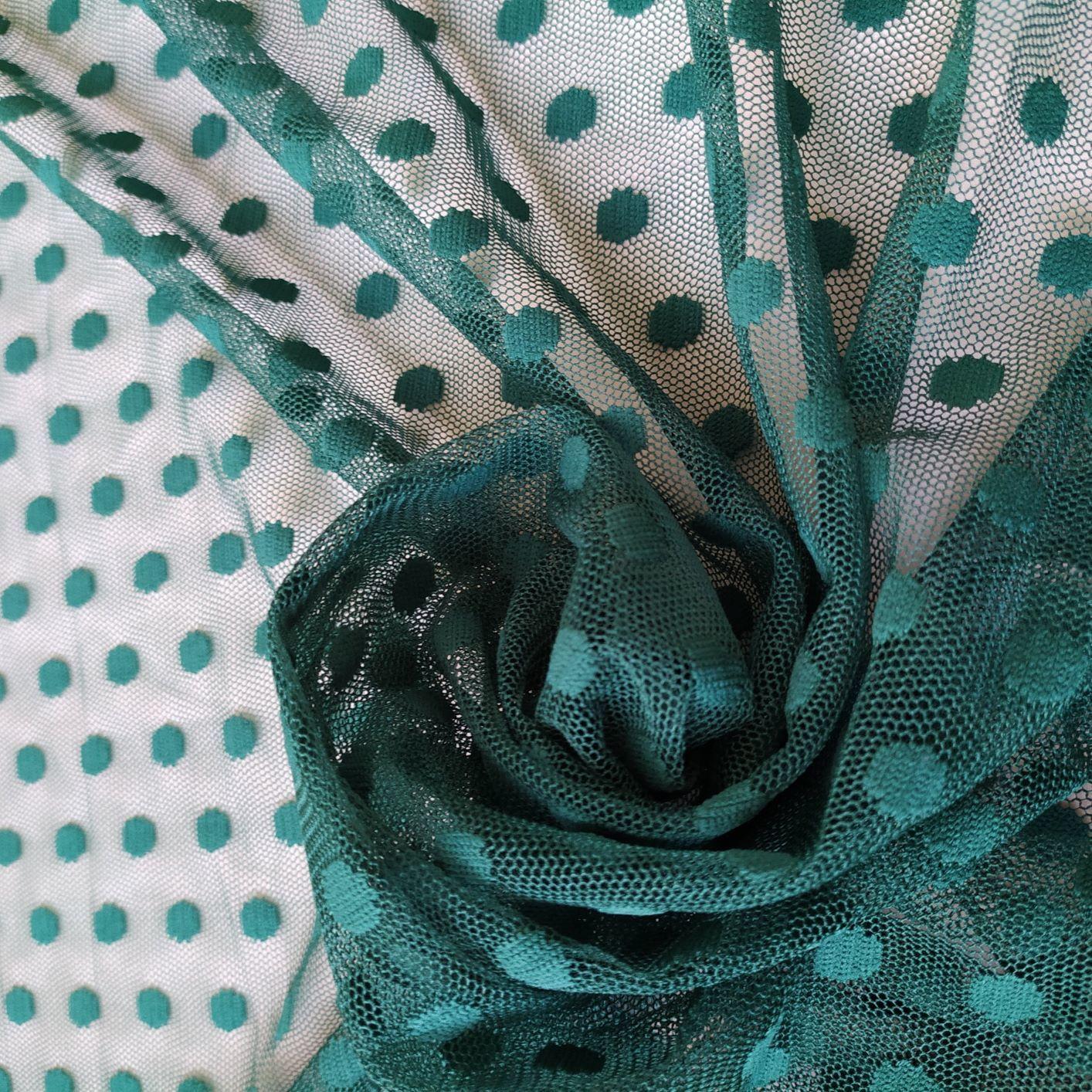 Tecido Tule Poá Point Sprit Verde Esmeralda 1 cm