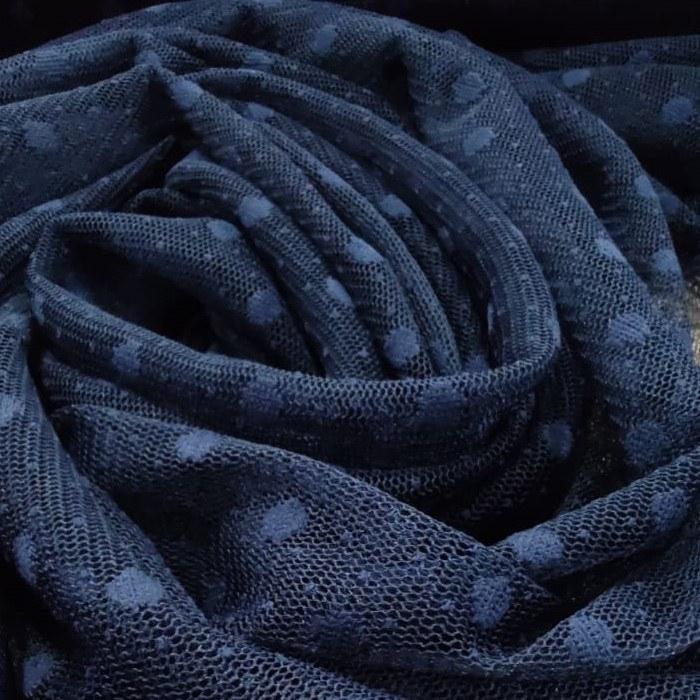 Tecido Tule Point Sprit Com Poá Cor Azul Marinho Poá Tamanho UM (01) Cm
