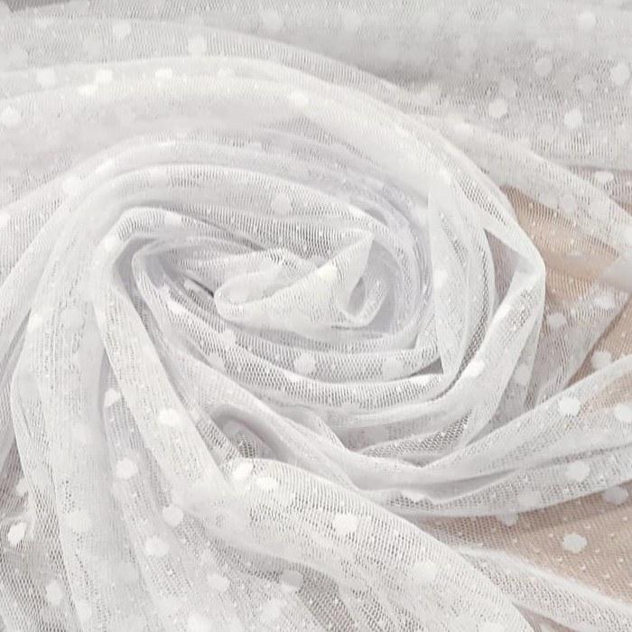 Tecido Tule Point Sprit Com Poá Cor Branco Tamanho Um (01) cm