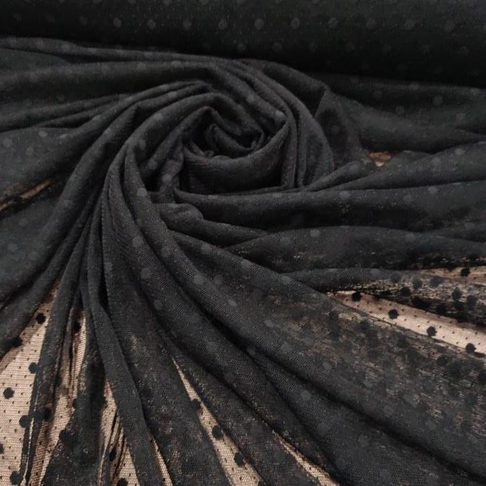 Tecido Tule Point Sprit Com Poá Preto Tamanho Um (01) cm