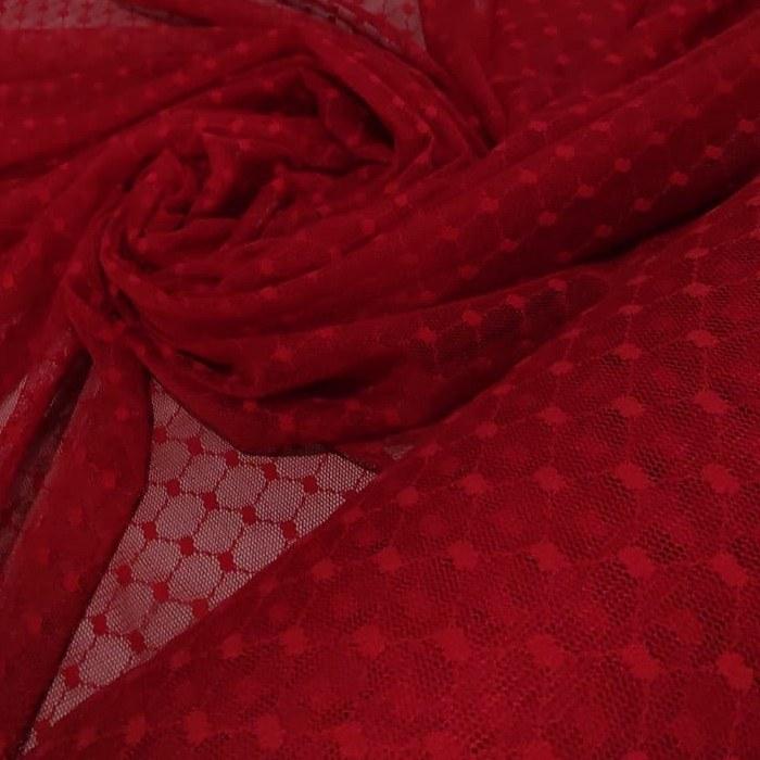Tecido Tule Point Sprit Coleção Flex Dot´s Poá Grande Cor Vermelho