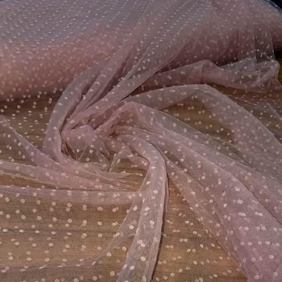 Tecido Tule Point Sprit Flocado Rosé