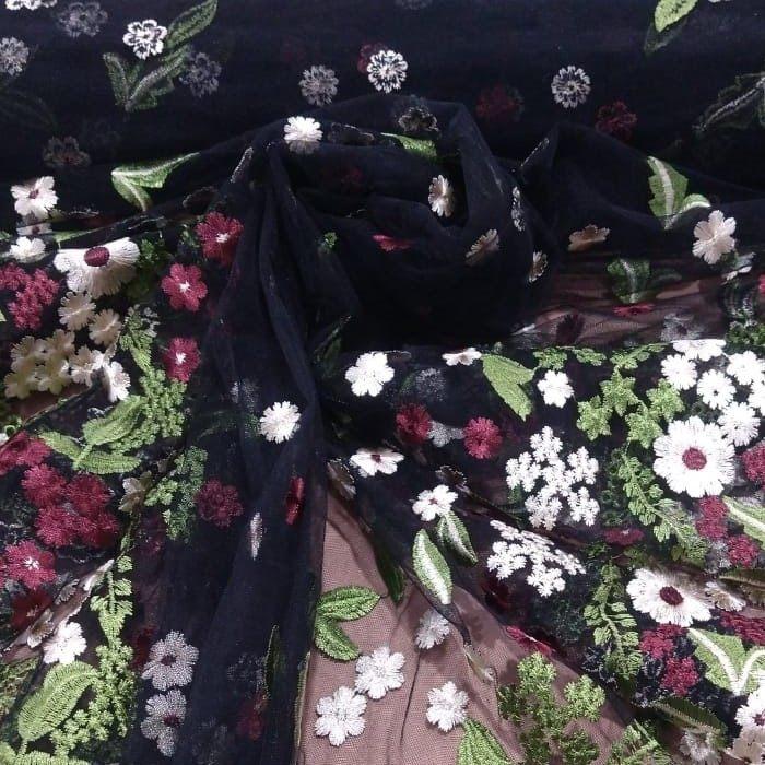 Tecido Tule Preto Bordado Com Floral Flores Do campo