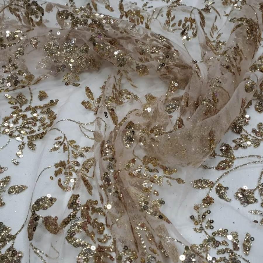 Tecido Tule Rosê com Glitter  e paetês com Flores Douradas