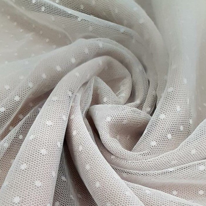 Tecido Tule Toque De Seda Point Sprit Off White