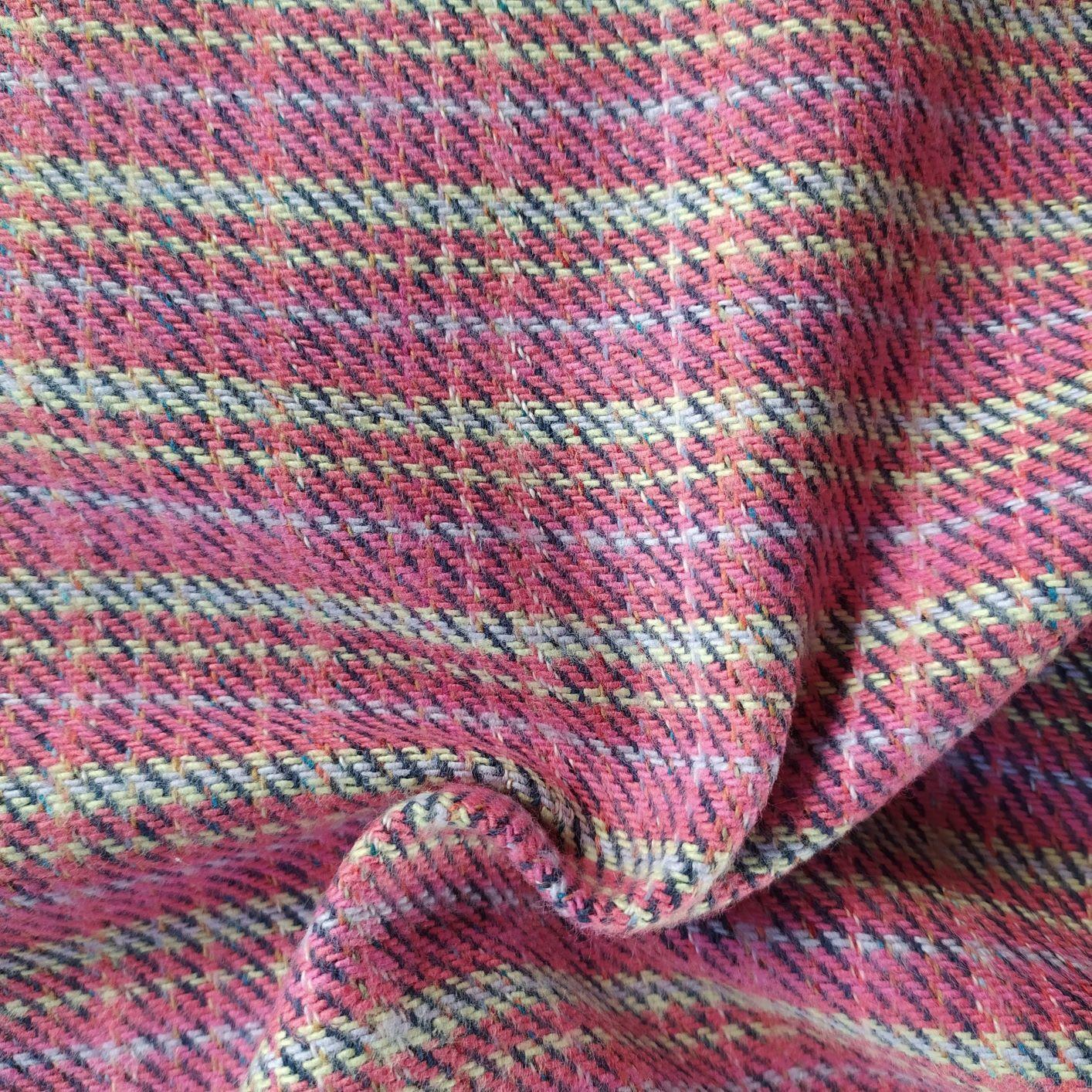 Tecido Tweed Algodão Fio tinto Pink