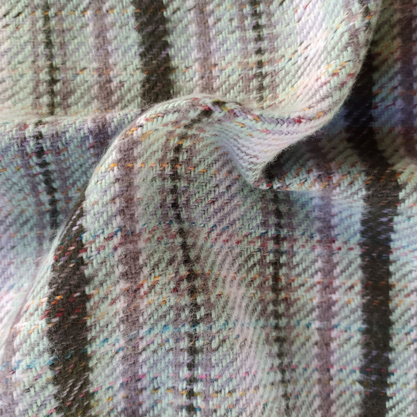 Tecido Tweed Algodão Fio tinto Verde Água