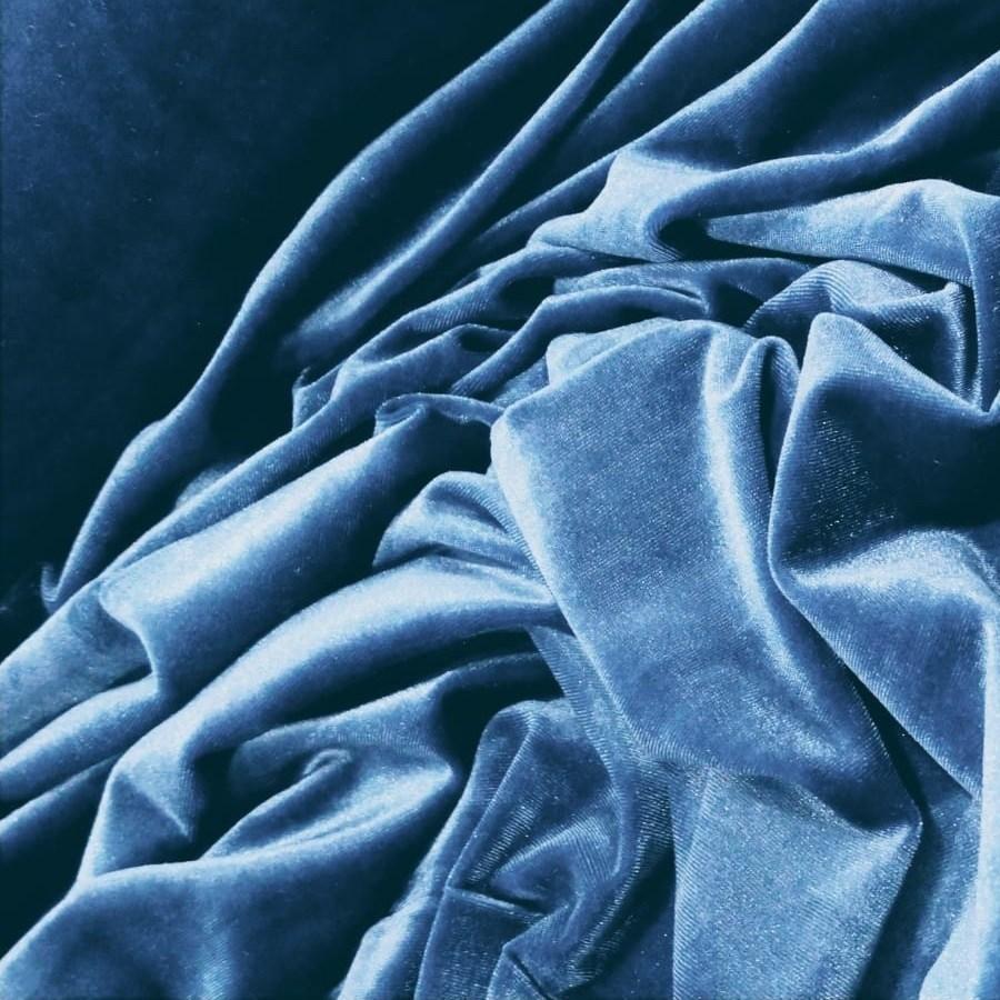 Tecido Veludo Spandex Cor Azul Cobalto