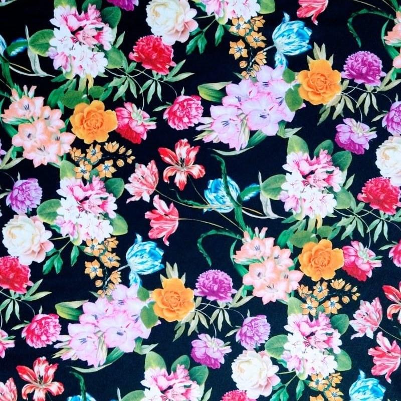 Tecido Visco Crepe Coleção Aquarelas Floral