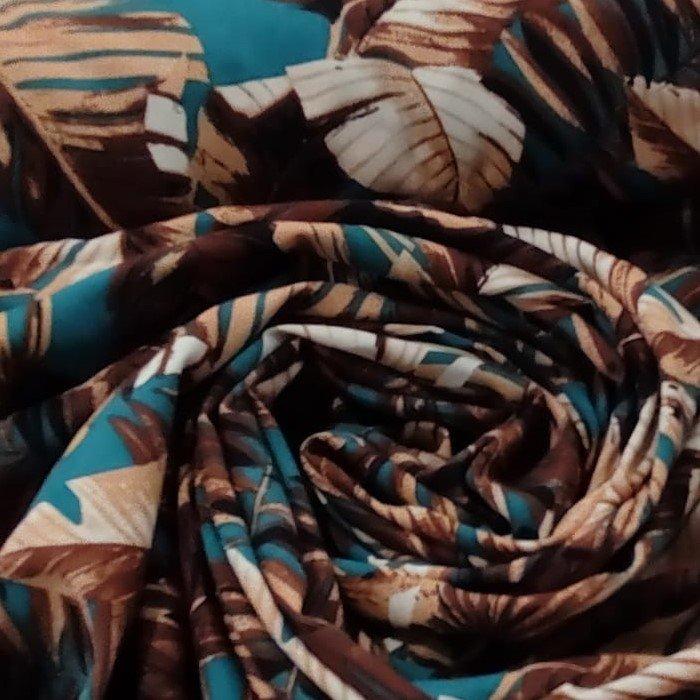 Tecido Visco Crepe Cor Base Azul Petróleo Com Terracota Coleção Fauna E Flora Brasileira