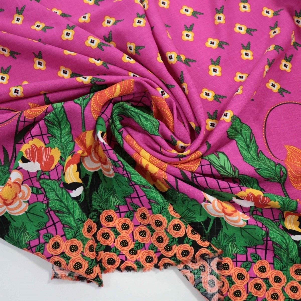 Tecido Viscolinho Floral Barrado Rosa Pink