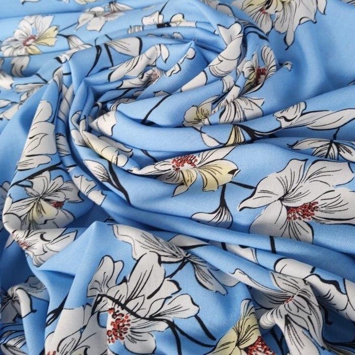 Tecido Viscose Cor Azul Mediterrâneo Com Floral Estampado Branco