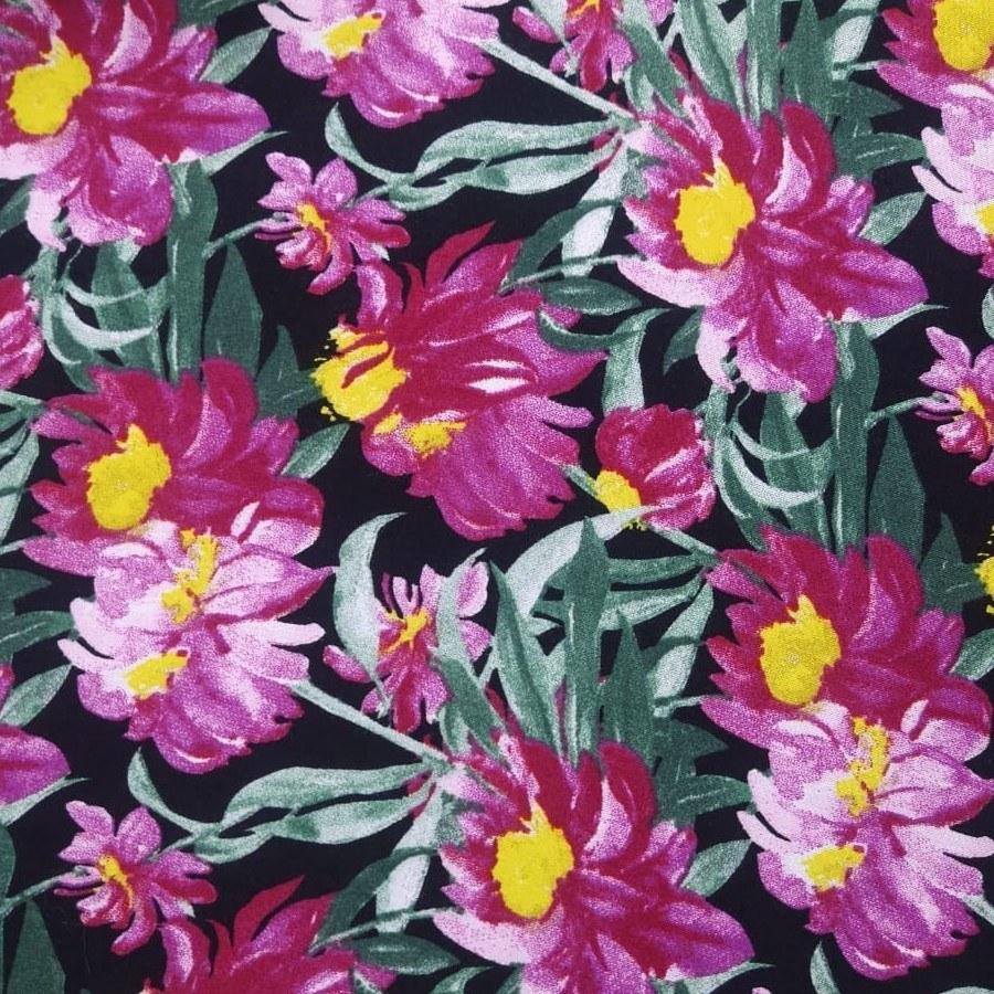 Tecido Viscose Coleção Aquarelas Preto Floral