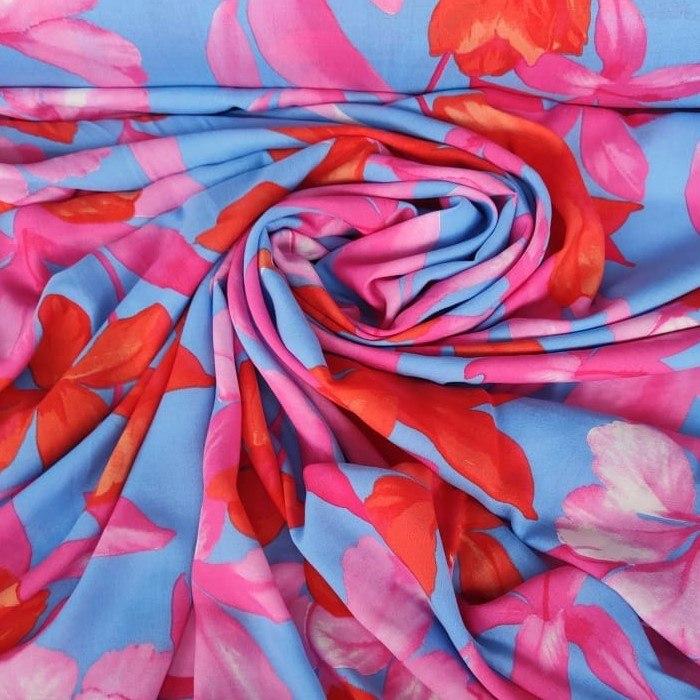 Tecido Viscose Cor Azul Mediterrâneo Com Floral Estampado Colorido