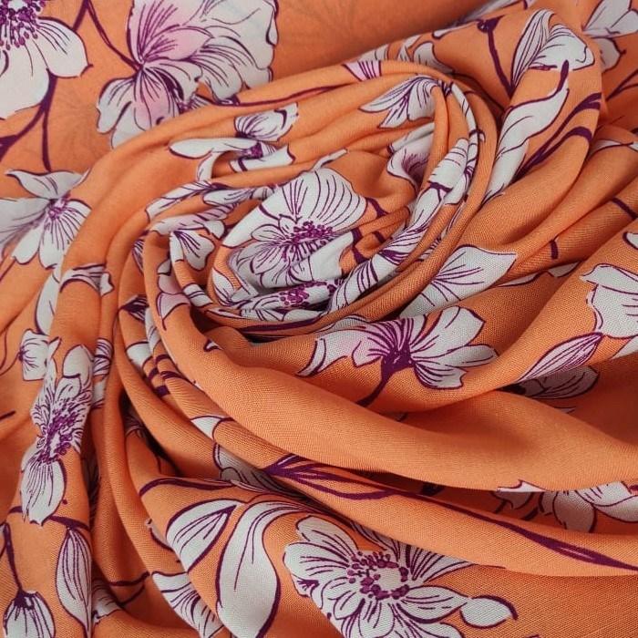Tecido Viscose Cor Laranja Com Floral Em Tons Terracota