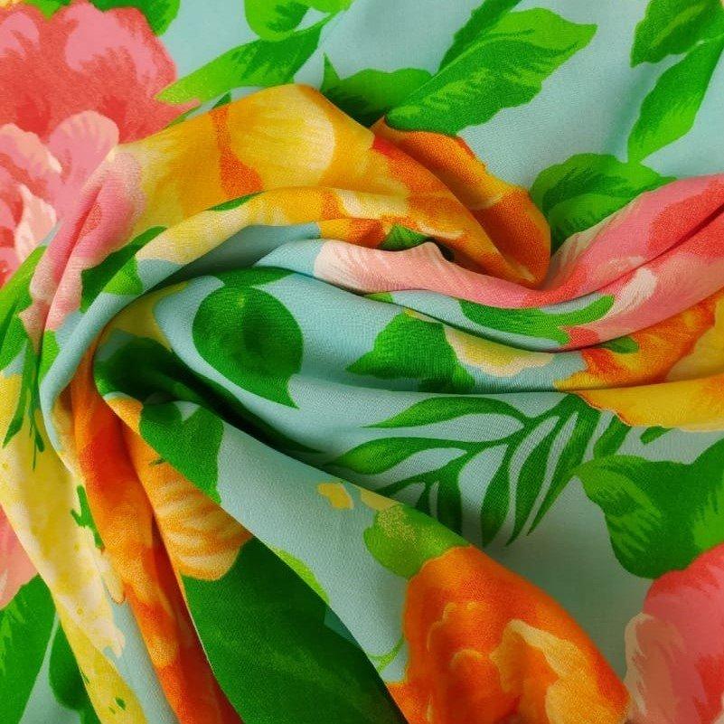 Tecido Viscose Estampada Floral Fundo Tiffany