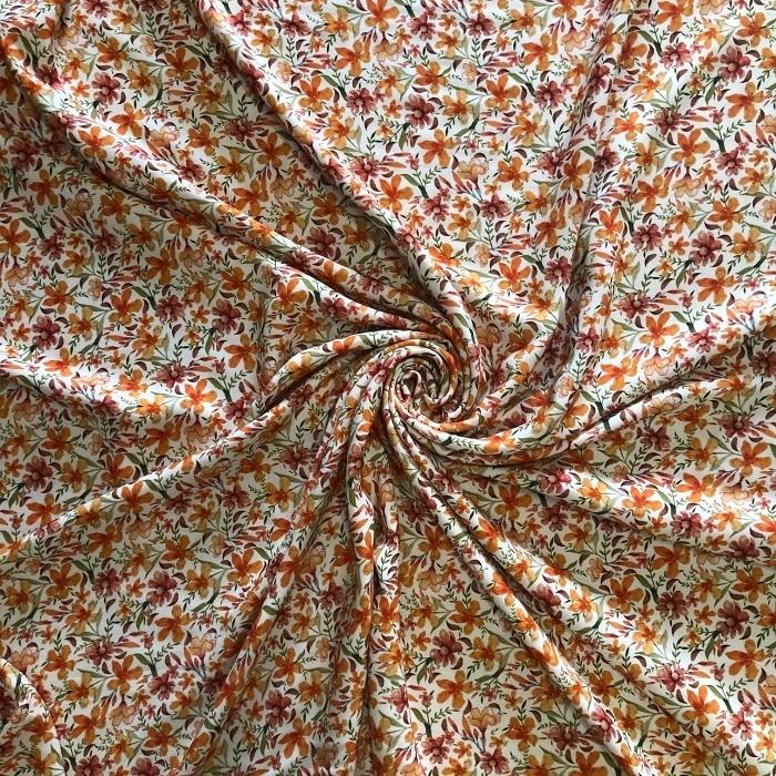 Tecido Viscose Estampado Floral Liberty Pérola