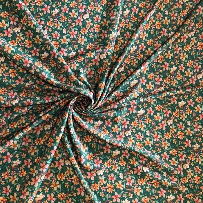 Tecido Viscose Estampado Floral Liberty Verde Floresta