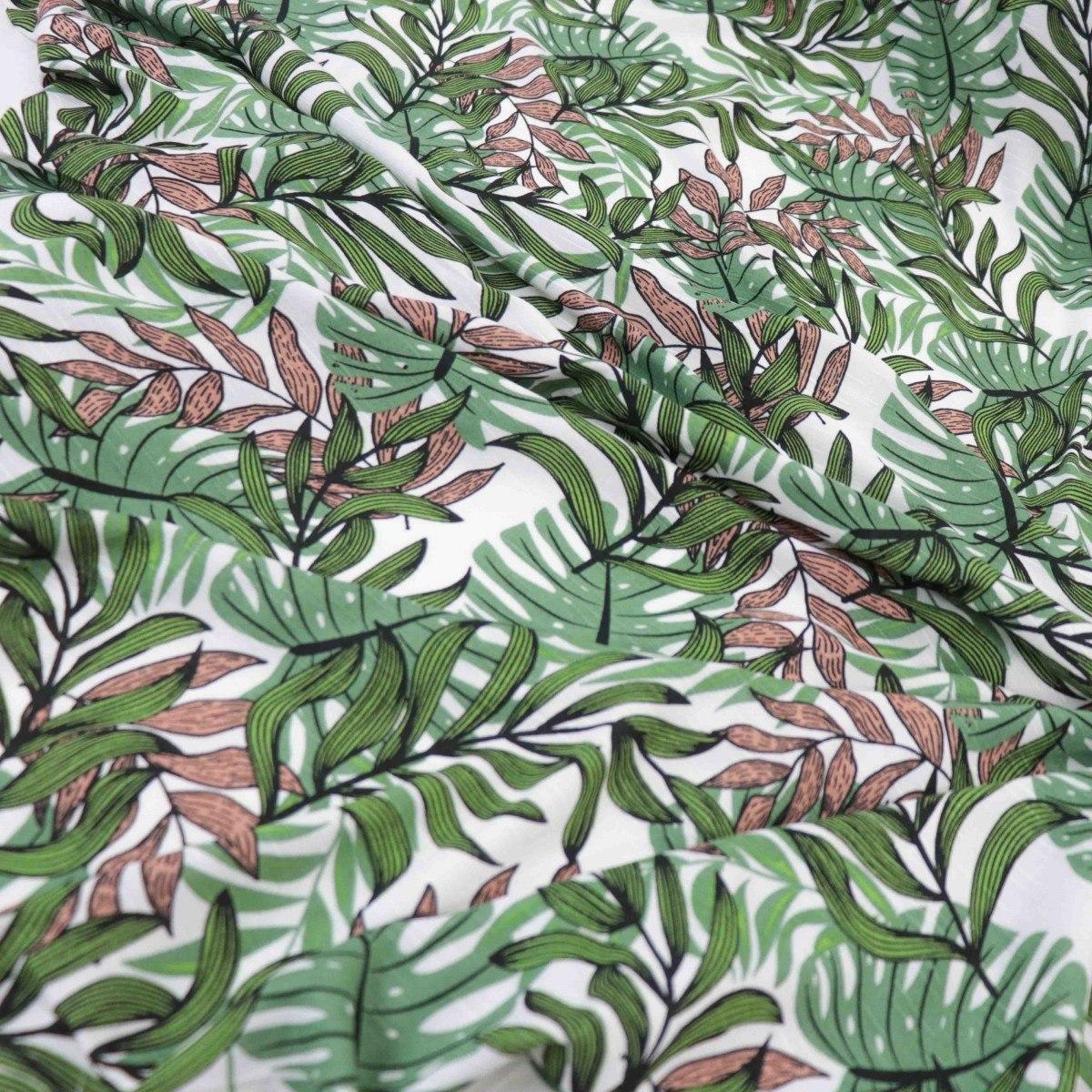Tecido Viscose Flamê Folhagens Branco, Marrom e Verde