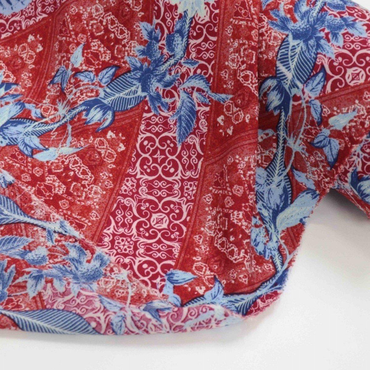 Tecido Viscose Floral e Barras Vermelho e Azul