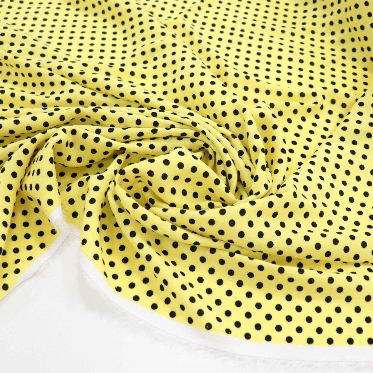 Tecido Viscose Micro Poá Amarelo e Preto