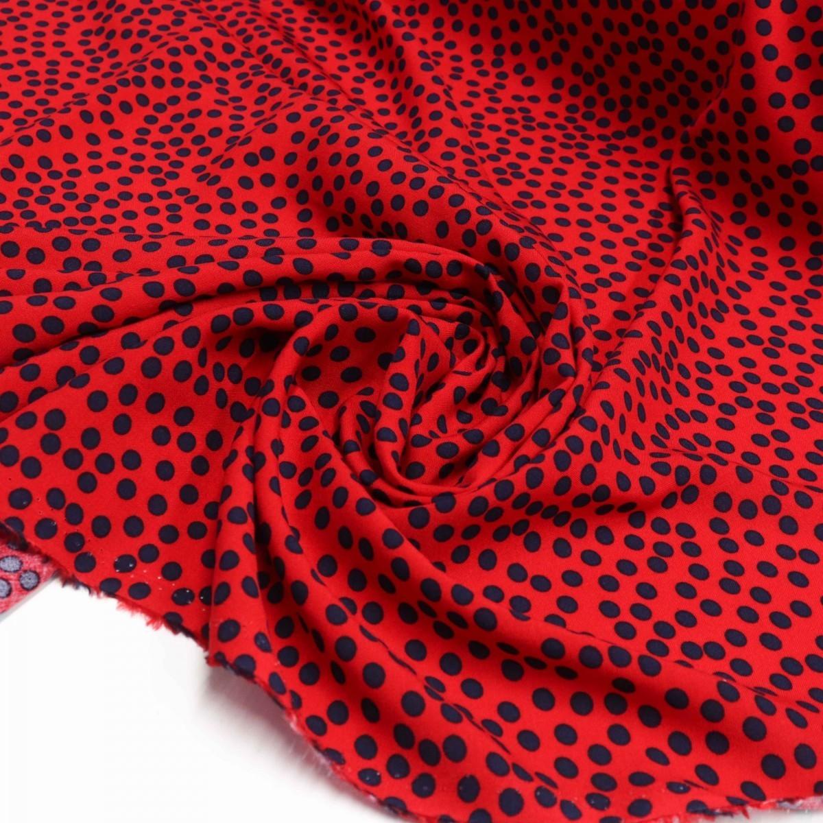 Tecido Viscose Poá Irregular Vermelho e Azul Marinho