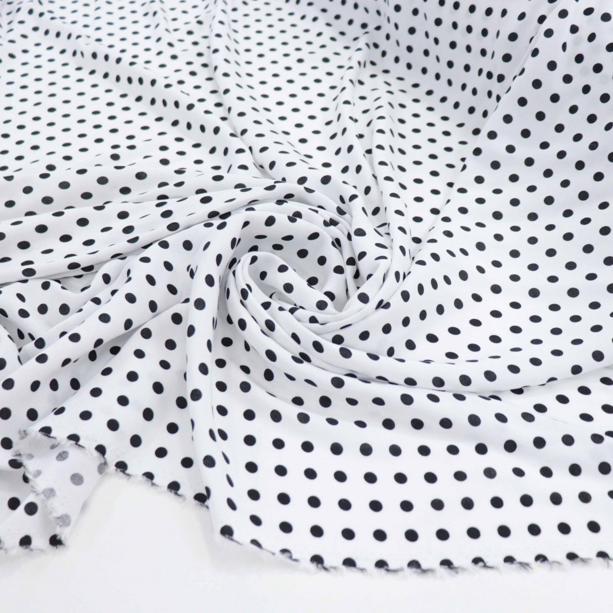 Tecido Viscose Poá Pequeno Branco e Preto