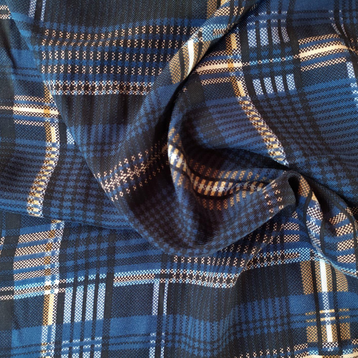 Tecido Viscose Sarjada Estampado Xadrez Azul