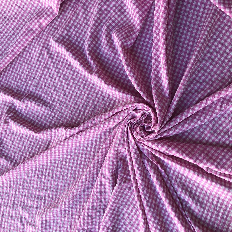 Tecido Viscose Xadrez Vichy Rosa Chicletes