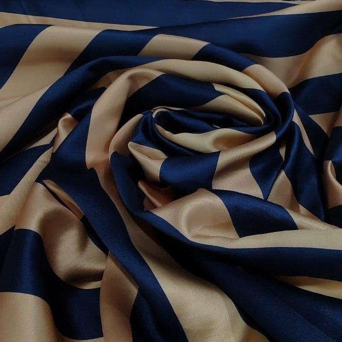 Tecido Zibelibe Monarca Coleção Trend Listras Cor Azul e Dourado