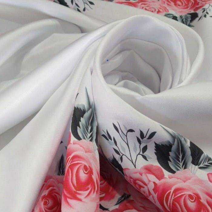 Tecido Zibeline Estampada Pet Poá Branco Com Rosas