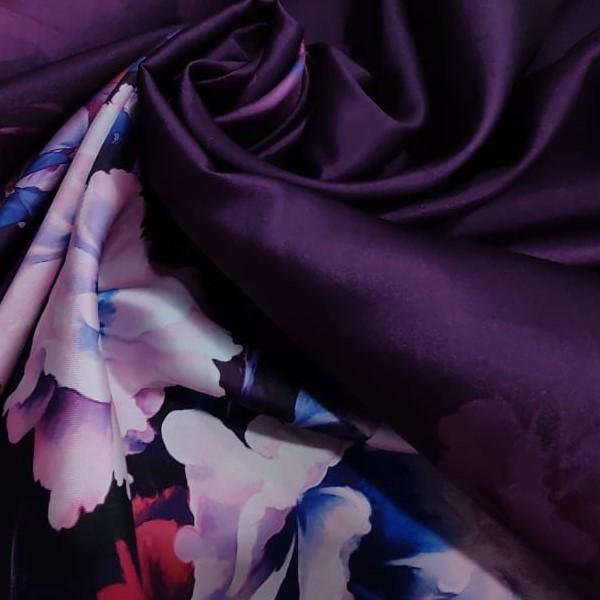 Tecido Zibeline Monarca Coleção Trend Com Estampa Floral Base Cor Roxo Degrade