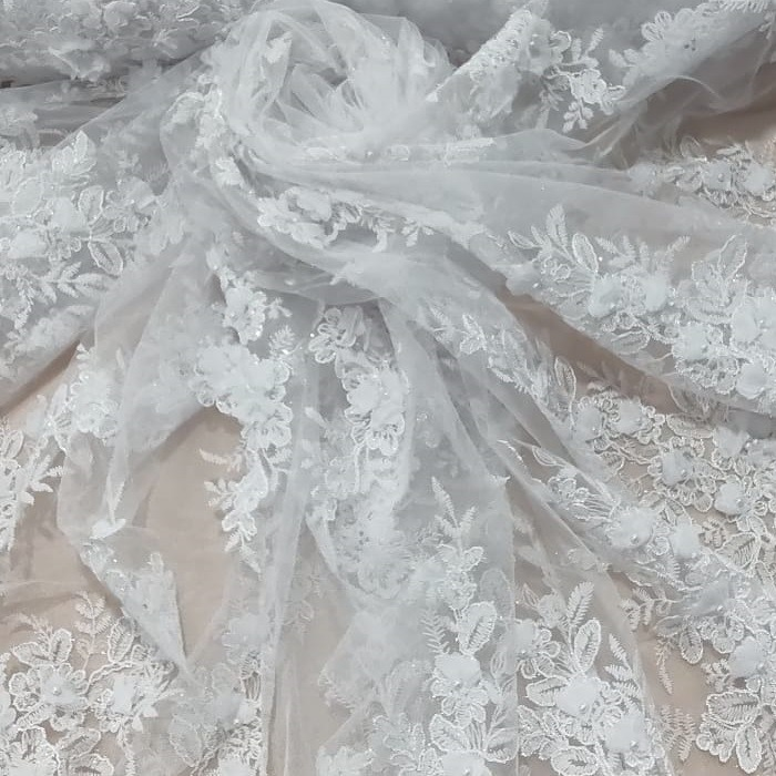 Tecido Tule Bordado Floral 3D Cor Branco