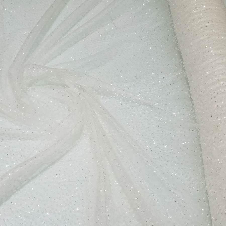 Tule com Glitter Off White