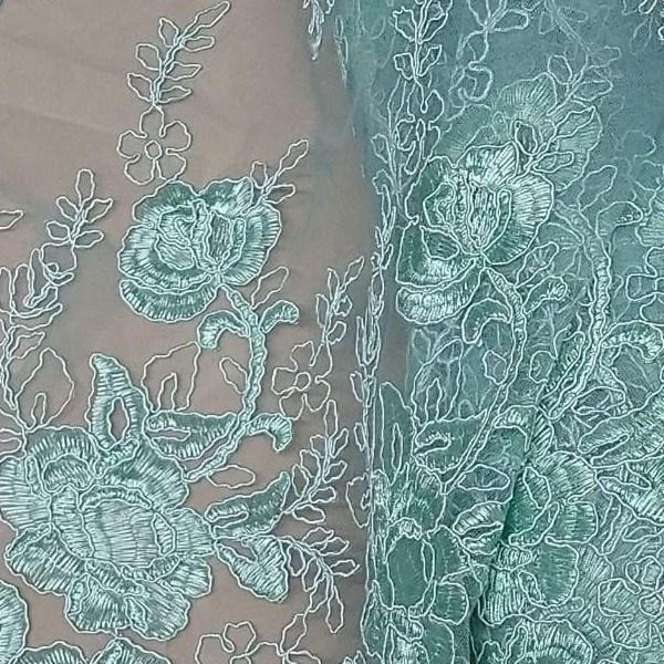 Tule Rendado Floral Arabesco Cor Tiffany