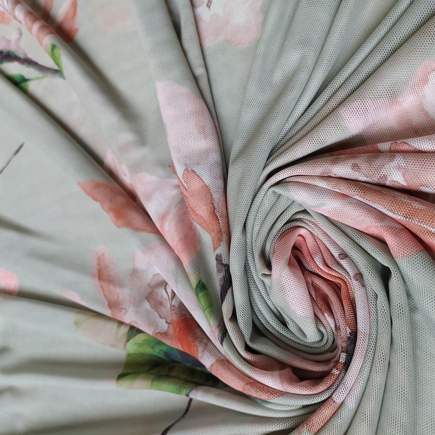 Tule Strech Estampado Floral Aquarela