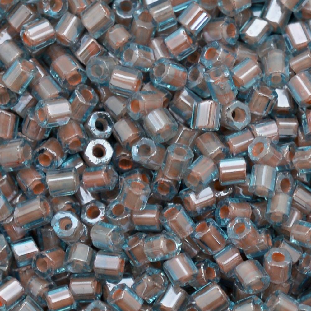 Vidrilho Preciosa® Ornela Água e Salmão Lined Colorido (61017) 2x9/0=2,6mm 100 gr