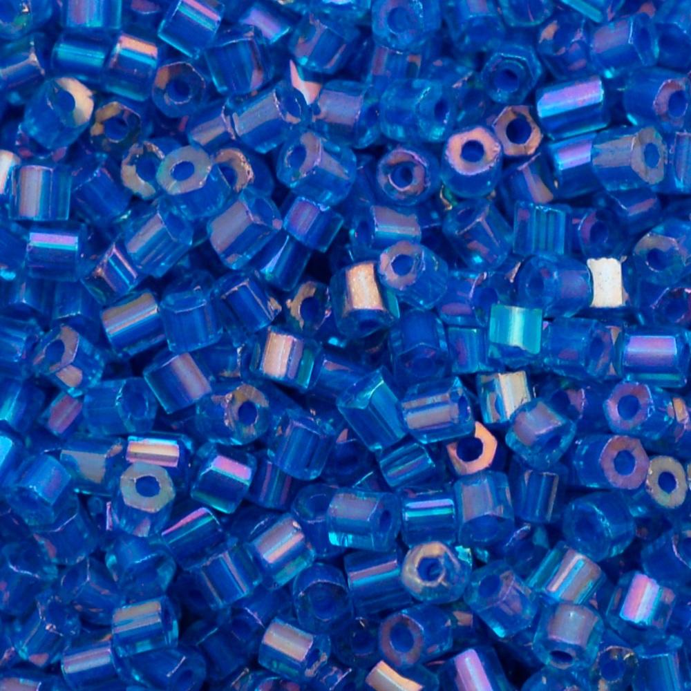 Vidrilho Preciosa® Ornela Azul e Roxo Lined Colorido Aurora Boreal (64153) 2x9/0=2,6mm 100 gr