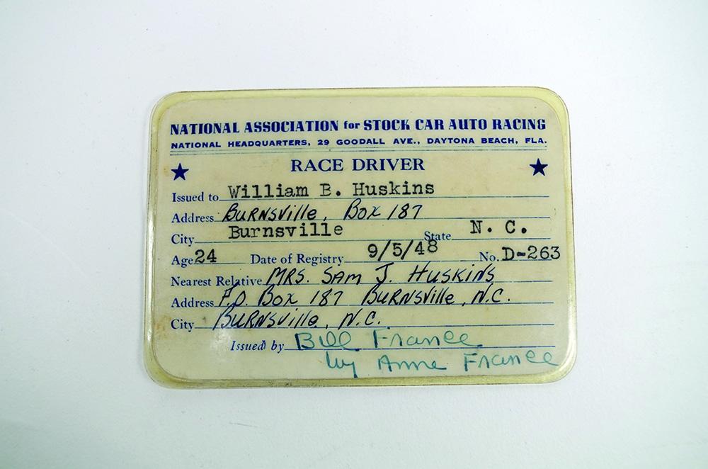Bill Huskins' NASCAR Competition License, 1948