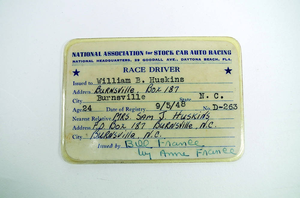 Bill Huskins' NASCAR Competition License, 1948