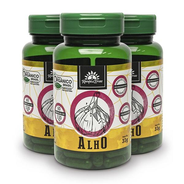 3 Alhos - 60 cáps 530 mg /3,2 mc ALICINA - Orgânico e Certif