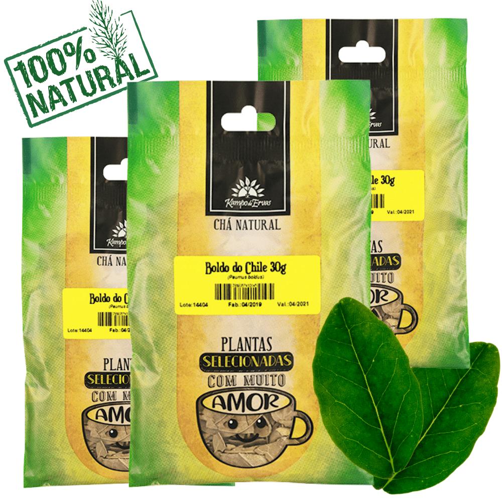 Boldo do Chile Chá 100% Natural Kampo de Ervas 3und 30g cada