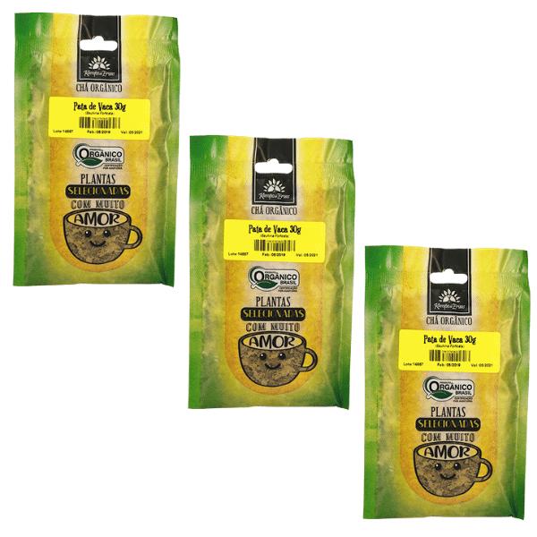 3 Chá Pata de Vaca PURA 100% Folhas 30 g - Orgânica e Certif